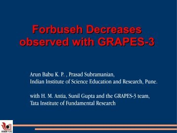 Forbush Decrease - Bose Institute