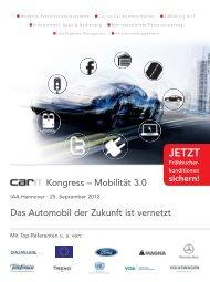 Kongress – Mobilität 3.0 Das Automobil der Zukunft ist vernetzt