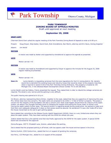 park township zoning board of appeals minutes