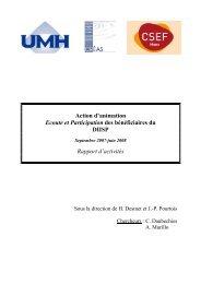 Action d'animation Ecoute et Participation des ... - CSEF Mons