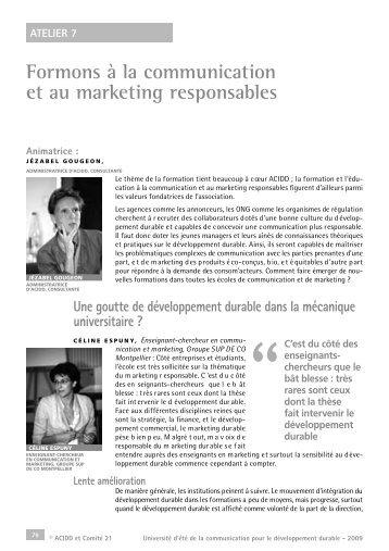 7. Formons à la communication et au marketing responsables - Acidd