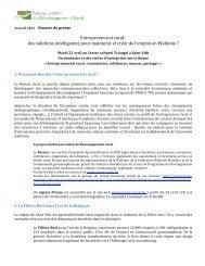 Entrepreneuriat rural - Réseau wallon de Développement rural