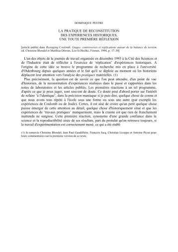 LA PRATIQUE DE RECONSTITUTION DES EXPERIENCES ...