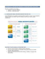 informace k maturitní zkoušce ve školním roce 2012/2013