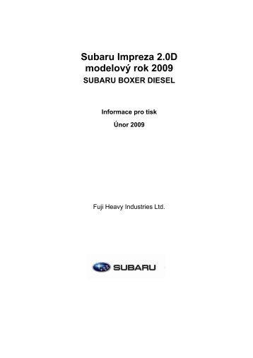 Subaru Impreza 2.0D modelový rok 2009