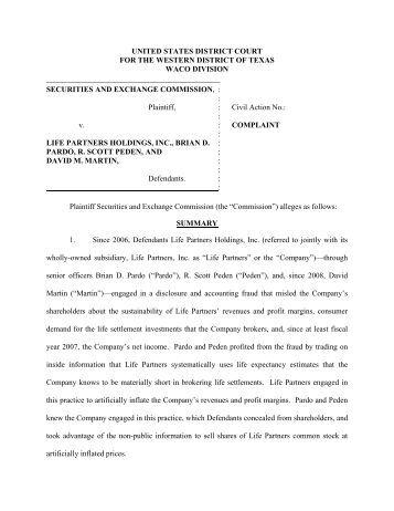 Life Partners Holdings, Inc., Brian D. Pardo, R. Scott Peden, and ...