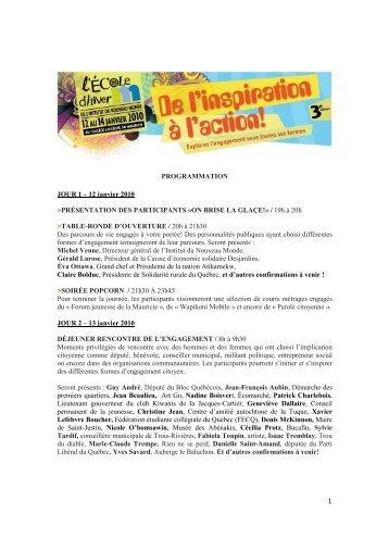 Programmation École d'hiver 2010 - Table de concertation du ...