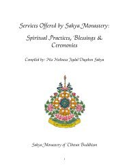 Services Offered by Sakya Monastery: Spiritual Practices, Blessings ...