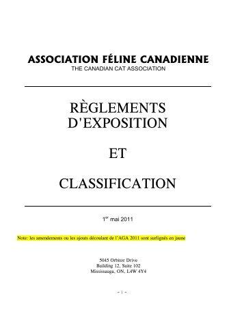 association féline canadienne règlements d'exposition