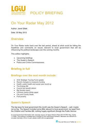 On Your Radar May 2012 - LGiU