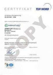 System zarządzania jakością ISO 9001:2008 - ARMATURY Group