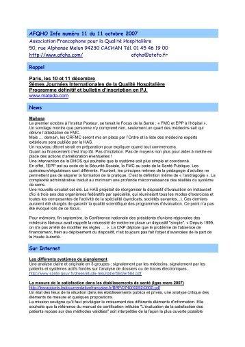 AFQHO Info numéro 11 du 11 octobre 2007 Association ... - JIQHS