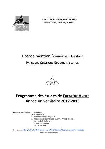 Programme des études de PREMIÈRE ANNÉE Année universitaire ...