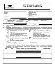 Application for Filming Permit - Moreno Valley
