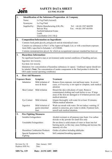 Jem Le Fog smoke fluid canister Safety Data Sheet - Point Source ...