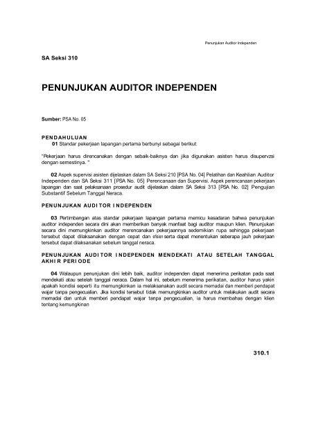 Penunjukan Auditor Independen