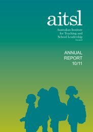 AITSL Annual Report 2010-11 - Australian Institute for Teaching and ...