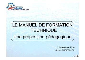 LE MANUEL DE FORMATION TECHNIQUE Une ... - ffessm