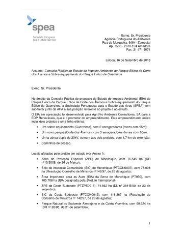 Exmo. Sr. Presidente Agência Portuguesa do Ambiente ... - spea.pt