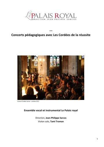 Dossier de présentation des concerts pédagogiques du ... - PARTAGE