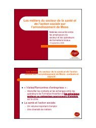 Les métiers du secteur de la santé et de l'action ... - CSEF Mons