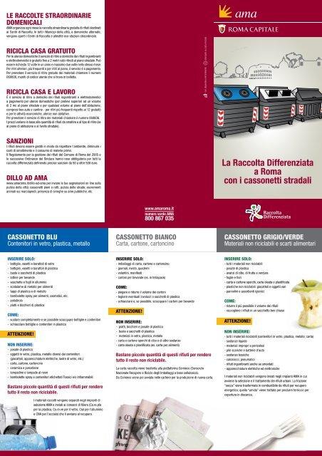 Calendario Raccolte Domenicali Ama.La Raccolta Differenziata A Roma Con I Cassonetti Stradali Ama