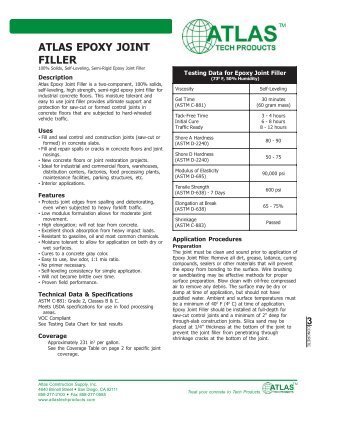 ATLAS EPOXY JOINT FILLER - Atlas Construction Supply, Inc