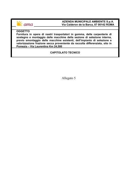 AMA Gara nastri gomma Allegato 5 Capitolato Tecnico