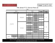 TML Series P.T.O. Service Parts List - Waterous