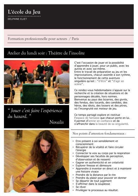 programme - Ecole du jeu