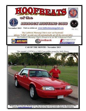 November Newsletter - Lubbock Mustang Club