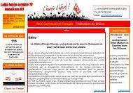 Edito 116 Parti Communiste Français Fédération du Rhône