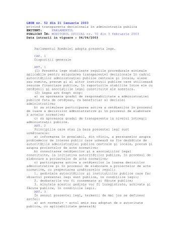 LEGE nr. 52 din 21 ianuarie 2003 privind transparenţa decizională ...