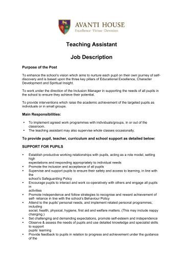 role of a teaching assistant Roles of the teaching assistant the use of the plural in the title of this section is deliberate, for you will play many roles as a teaching assistant (ta) these roles include that of subject expert and facilitator of learning, role model and advisor for students, assistant to a professor, representative of a department, and employee of the university.