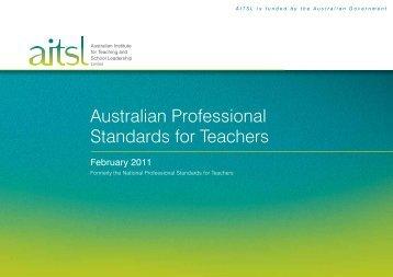 pdf, 289kb - AITSL, Australian Professional Standards for Teachers