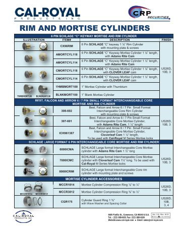 RIM AND MORTISE CYLINDERS - Cal-Royal