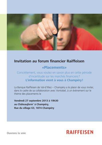 Invitation au forum financier Raiffeisen «Placements» - APCACH.ch