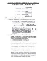 les caractéristiques de tendance centrale et de dispersion : (chapitre ...