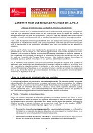 Manifeste pour une nouvelle politique de la ville - Association des ...