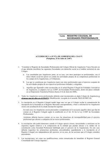 1.2.4. registro colegial de sociedades profesionales - Colegio Oficial ...