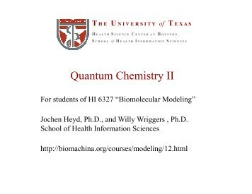 Quantum Chemistry II - biomachina.org