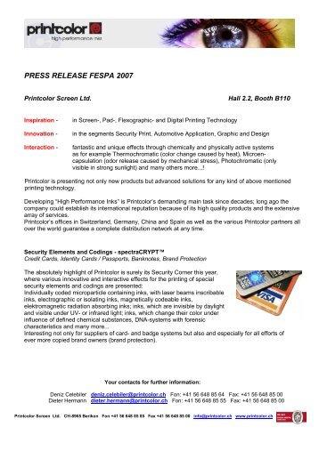 PRESS RELEASE FESPA 2007