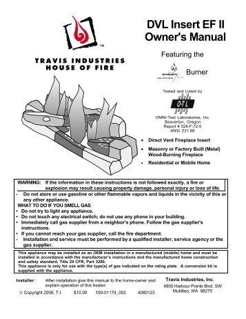 DVL Insert EF II Owner's Manual - Lopi