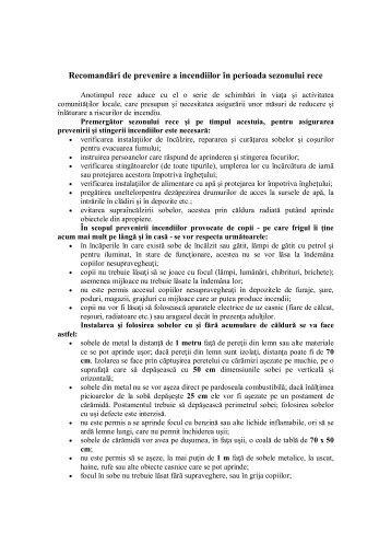 Recomandări de prevenire a incendiilor în ... - Primaria Sulina