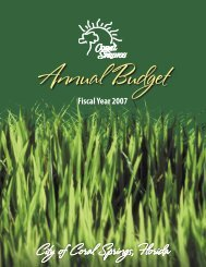 Fiscal Year 2007 Annual Budget - City of Coral Springs