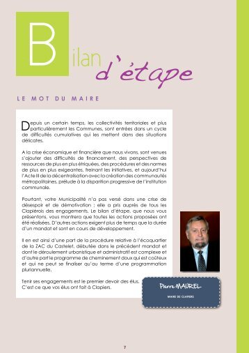 B ilan d'etape - Mairie de Clapiers