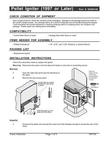 Pellet Igniter (1997 or Later) Part # 99300148 - Travis Industries ...