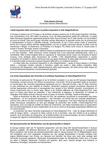 Prime Giornate dei Diritti Linguistici, Università di Teramo, 11-12 ...
