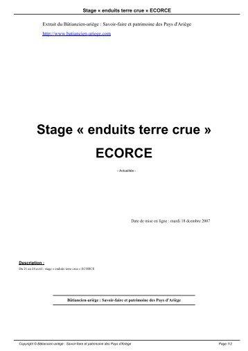 Stage « enduits terre crue » ECORCE - Bâtiancien-ariège