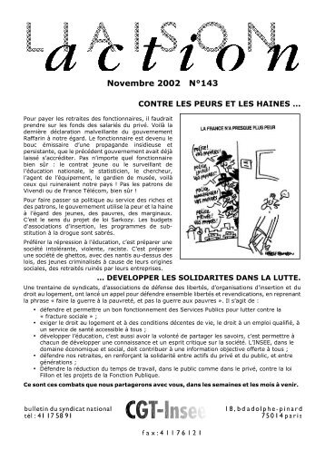Novembre 2002 N°143 - cgt-insee